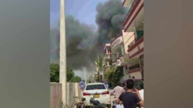 Photo of PIA aircraft crashes in a residential area near Karachi airport