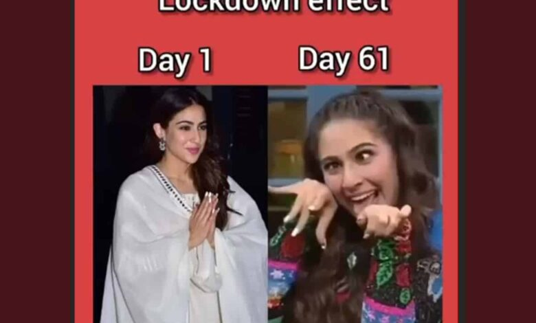 Sara Ali Khan shares before and after effect of lockdown on her