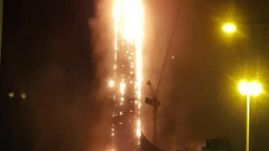 Photo of Massive fire engulfs Sharjah's residential tower
