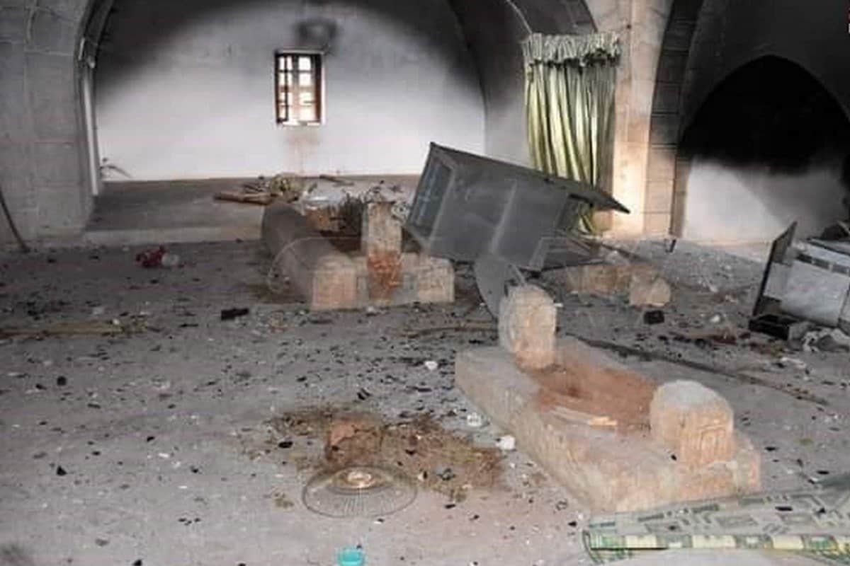 The tomb of Umayyad Caliph Umar Ibn Abdul Aziz was burnt and destroyed by militias in Syria, 28 May 2020 SANAA/ Twitter