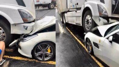 Photo of Fired from job, employee rams Volvo truck into boss' Ferrari