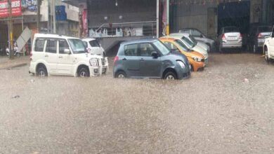 Hyderabad rain leaves puddles on roads