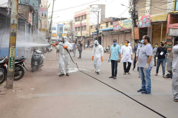 DRF team spraying chemical in the lanes of Talab Katta in Hyderabad's Old City. Photo: Mohammed Hussain