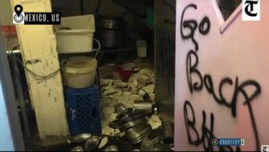 Photo of Indian restaurant vandalised in US, racist graffiti found at site
