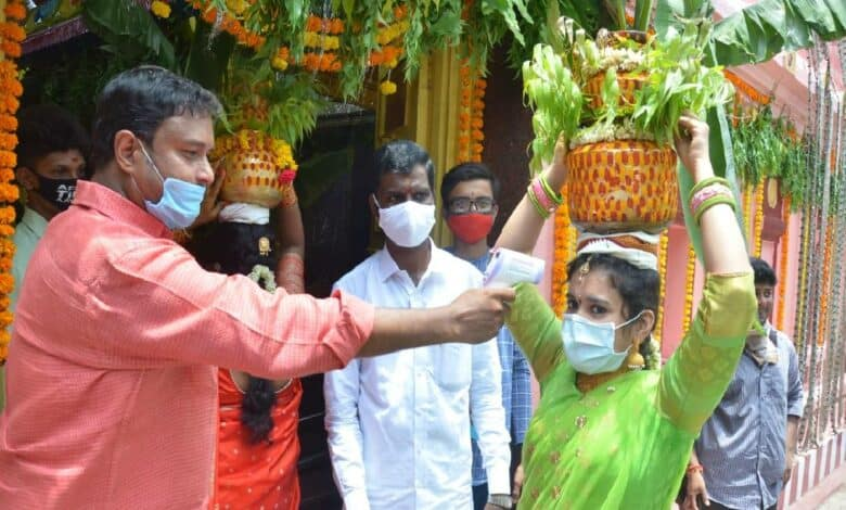 Bonalu festive begins with safety norms amid Corona scare in Hyderabad