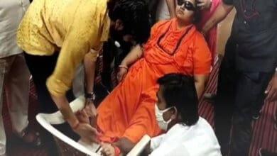 Photo of BJP MP Pragya Singh Thakur faints during a function in Bhopal