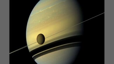 Photo of Saturn's moon Titan drifting away faster than previously thought