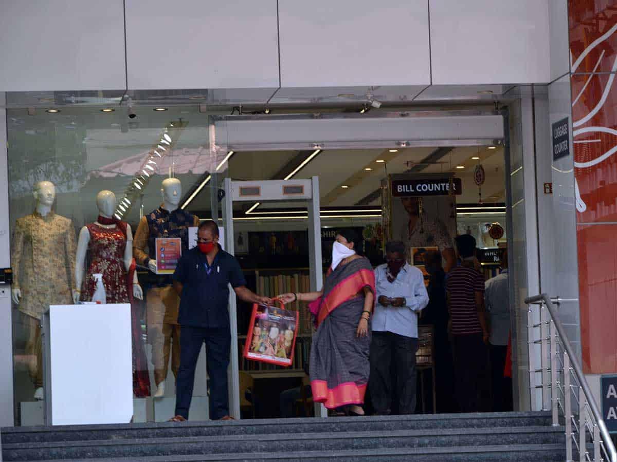 Shopping malls open doors in Hyderabad. Photo: Mohammed Hussain