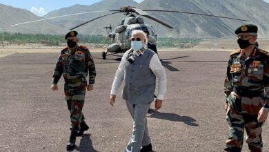 Photo of PM Narendra Modi reaches Ladakh on surprise visit