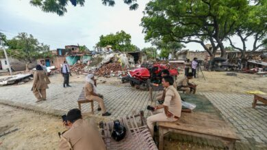 Photo of Police at Vikas Dubey's demolished house