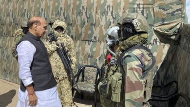 Photo of Rajnath visits key forward post along LoC in Kashmir