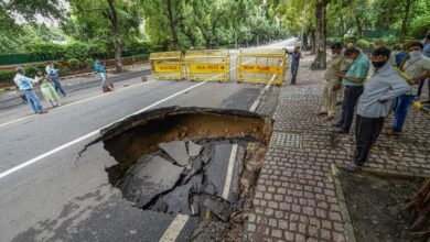 Photo of Road caves-in New Delhi