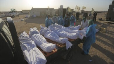 Photo of Burial of COVID-19 victim in Iraq