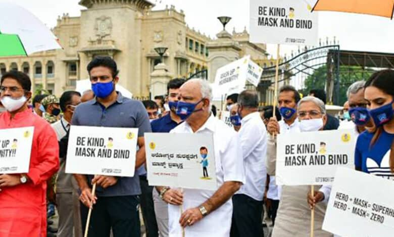 Chief Minister BS Yediyurappa along with other ministers and officials walked from Vidhana Soudha to Cubbon Park as part of the walkathon to create awareness about the importance of wearing a mask.