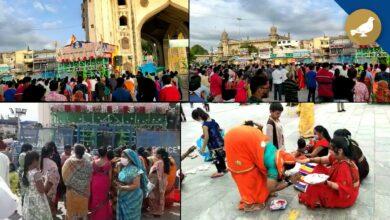 Photo of Hyderabad: Social distancing violated at Bhagyalaxmi Temple