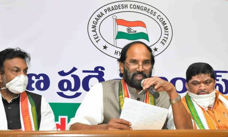 Uttam blames BJP, TRS Govts for higher fuel prices