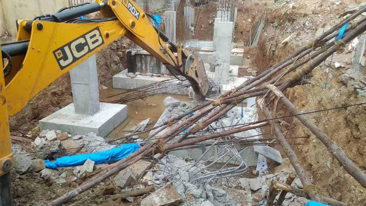 GHMC demolishes unauthorised structures at Gurukul lands
