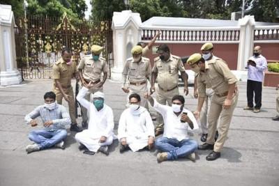 Police thwart dharna at UP Raj Bhavan, whisk away Lallu, others