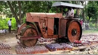 Photo of Andhra police destroys liquor worth Rs 72 lakh with a road roller