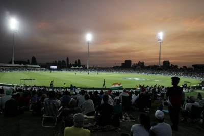 Spectators attend Surrey-Middlesex friendly at the Oval