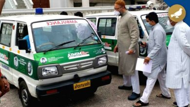 Photo of Asaduddin Owaisi flags off two free ambulance services