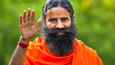 Photo of Baba Ramdev falls after losing balance while cycling, video goes viral
