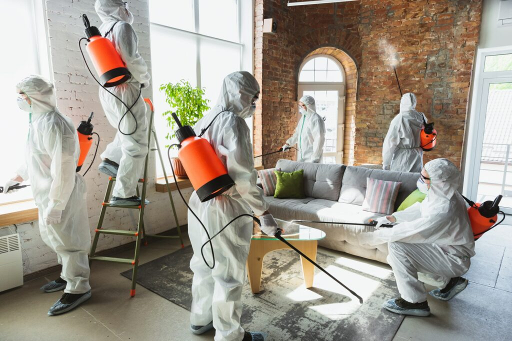 Coronavirus Pandemic. A disinfectors in a protective suit and mask sprays disinfectants in the house