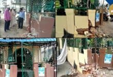 Photo of Dargah Hafeez Ali hit by a drunken driver, walls damaged