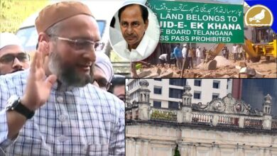 Photo of Owaisi sabotaging protest against demolition of Secretariat mosques