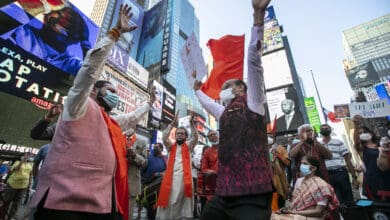 Photo of Hindus of New York gather to celebrate Ram Mandir Bhoomi Pooja at Times Square