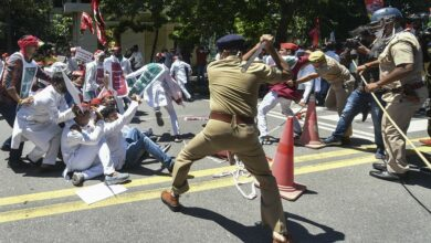Photo of Samajwadi party workers protest