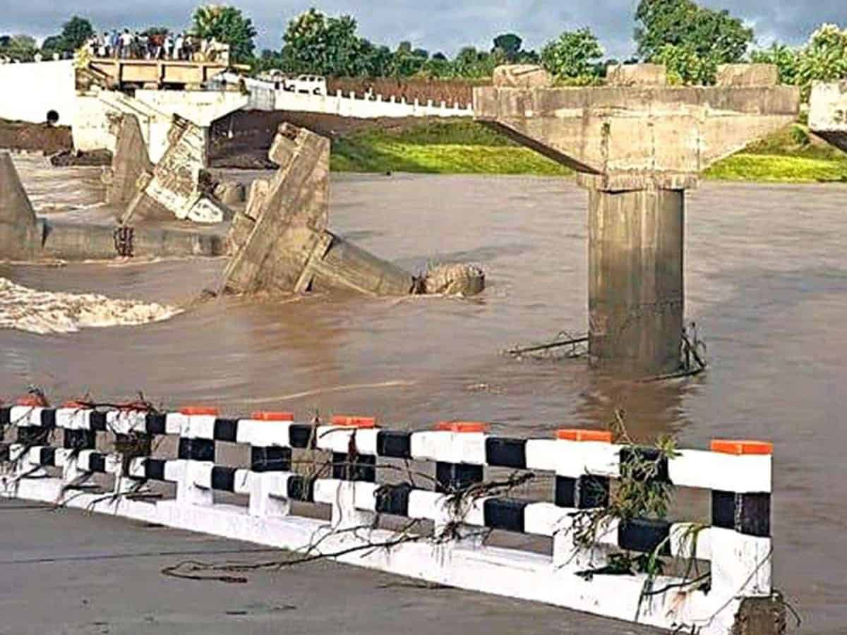 Bridge washed away before inauguration in MP