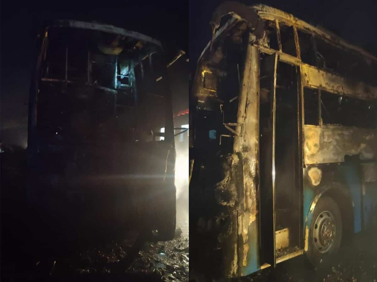 Five killed as bus catches fire in Karnataka
