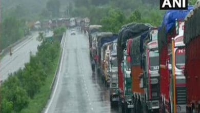 Photo of Trucks stuck on Srinagar  Highway for past 3 days due to landslides