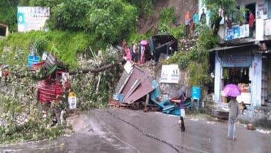 Photo of Landslide in Uttarakhand's Chamoli after heavy rain, several shops damaged