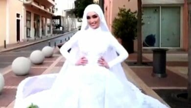 Photo of Lebanese bride in shock after witnessing Beirut explosion