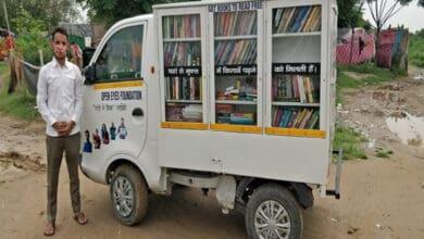 Photo of NGO distributes books via minivan library to underprivileged