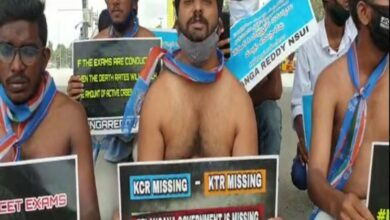 Photo of Hyderabad: NSUI stage half-naked protest against govt's 'misuse of police'
