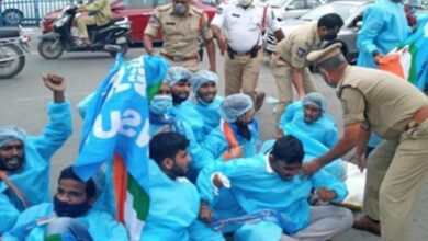 Photo of NSUI stages protest outside Pragati Bhawan against conduct of exams