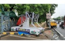 Photo of GHMC erected Mosquito Mascot at their HQ near Mayor's entrance