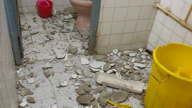Photo of Layer of roof falls in doctor's room at Osmania Hospital