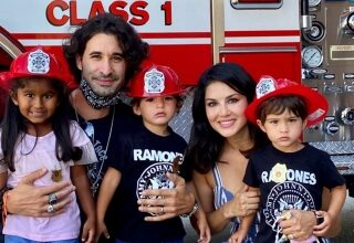 Photo of Sunny Leone, family have a day out with firemen
