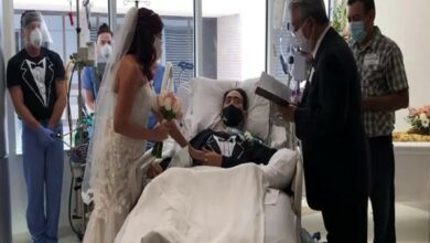 Photo of Covid affected man on life support marries fiancee in ICU
