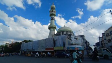 Photo of Ahead of Ganesh procession, mosques en route covered with cloth