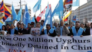 Photo of Uyghur in US protest against China's ethnic cleansing of minorities