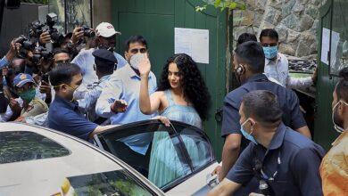 Photo of Kangana Ranaut at her office in Mumbai