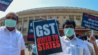Photo of MP's protest at Parliament; demand clearance of states' GST dues