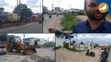 Photo of Commuter faces problem with the narrow road at Bandlaguda Petrol Pump