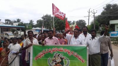 CPM cadres protest farm bills across Andhra Pradesh