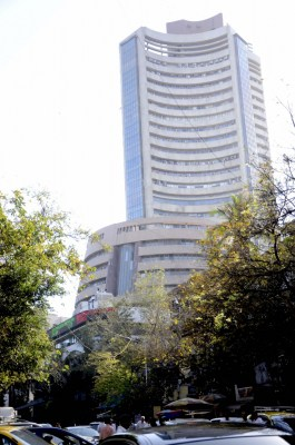 Equity indices trim major initial gains, Sensex up 65 points